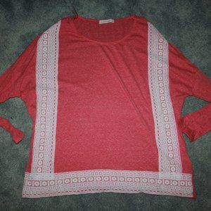 Entro Size M Anthropology pink coral lace top